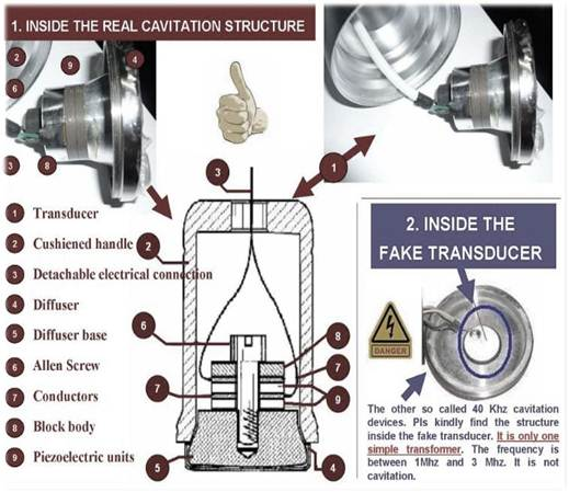 Structure difference of real cavitation transducer and fake 3Mhz transducer